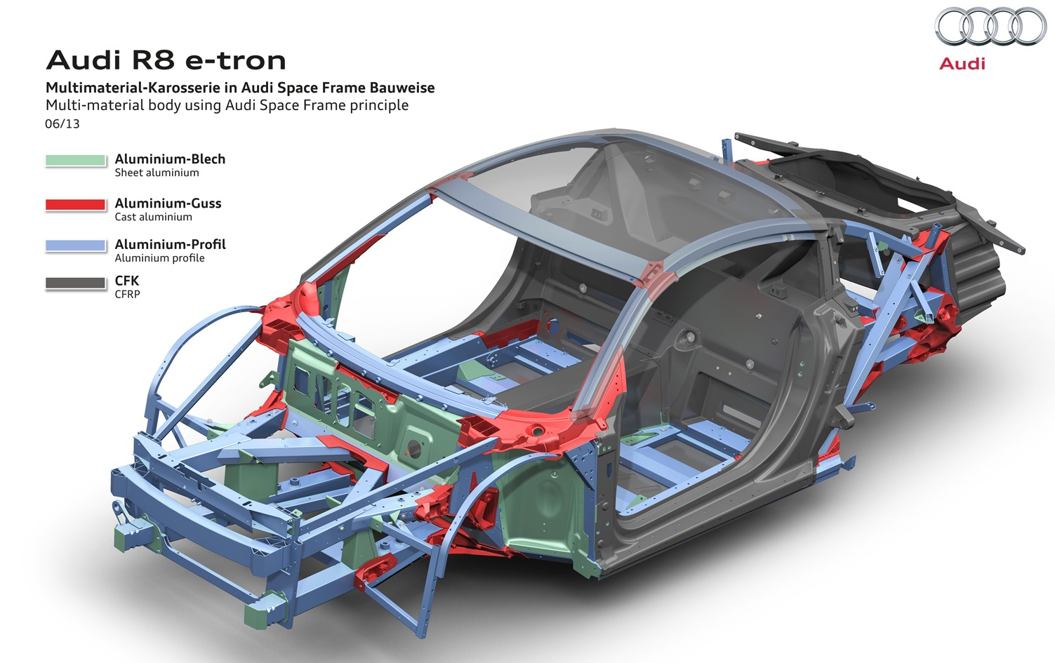 2013 Audi R8 e-tron HV Battery and BIW